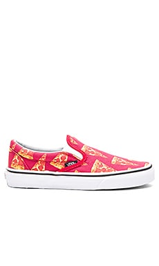 Vans Late Night Classic Slip On in Mars Red & Pizza