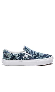 Vans Indigo Tropical Classic Slip-On in Blue & True White