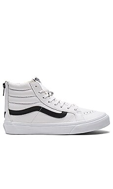 SK8-HI Slim Zip Sneaker in True White & Black
