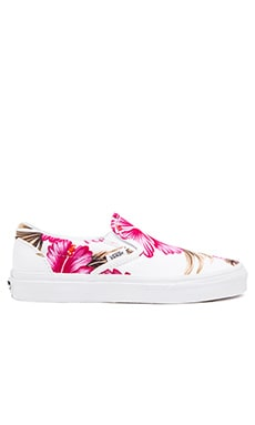 Vans Classic Hawaiian Floral Slip On Sneaker in White