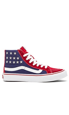 Vans Sk8-Hi Slim Studded Stars Sneaker in Red & Blue