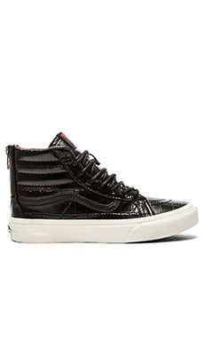 Vans SK8 Hi Slim Zip Croc Leather Sneaker in Black