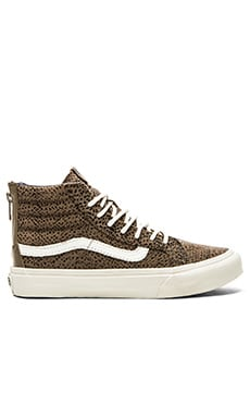 Vans Sk8 Hi Slim Zip Cheetah Suede Sneaker in Black & Tan