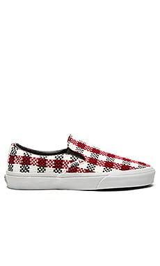 Vans Classic Slip On Checker Plaid Sneaker in Black & True White