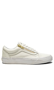 Vans Old School Zip Sneaker in True White & Gold