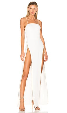 High Zip Slit Backless Gown