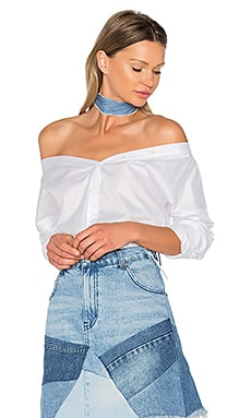 Off Shoulder Shirt en Blanc