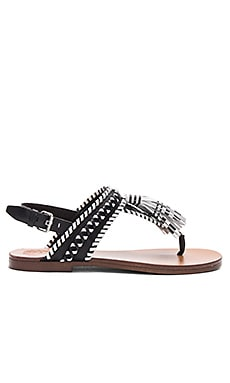 Rebeka Sandal in Black & Picket Fence