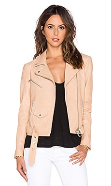 VEDA Jayne Classic Leather Jacket in Nude