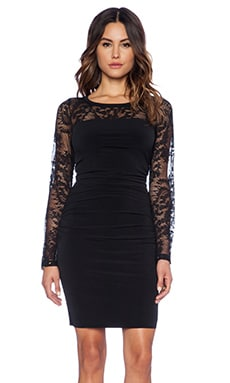 Velvet by Graham & Spencer Avena Stretch Jersey with Lace Dress in Black