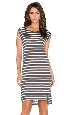 Velvet by Graham & Spencer Leila Linen Stripe Dress in Grey