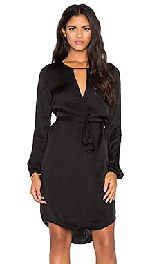Velvet by Graham & Spencer Amorita Satin Viscose Long Sleeve Dress in Black