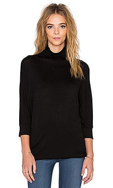 Velvet by Graham & Spencer Shaylene Lux Gauze Turtleneck Dress in Black
