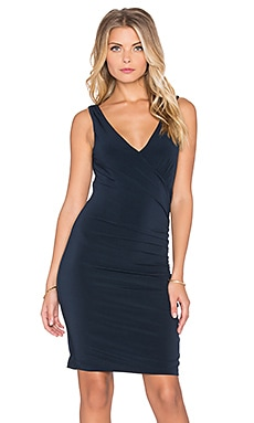 Velvet by Graham & Spencer Sully Stretch Jersey V Neck Mini Dress in Midnight