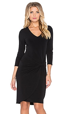 Velvet by Graham & Spencer Wendolyn Long Sleeve Twist Front Mini Dress in Black