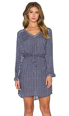 Velvet by Graham & Spencer Beryl Casablanca Print Long Sleeve Tied Waist Dress in Navy & Cream