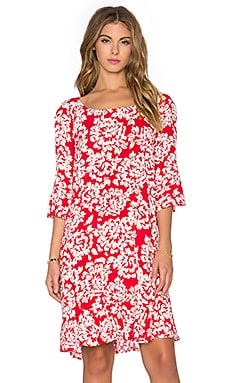 Elida Printed Challis Short Sleeve Shift Dress in Red & Ivory