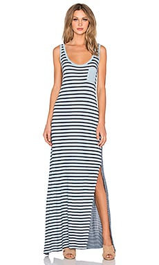 Velvet by Graham & Spencer Debbie Mixed Stripe Scoop Neck Maxi Dress in Colonial