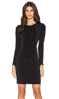 Velvet by Graham & Spencer Violet Stretch Jersey Fringe Front Dress in Black
