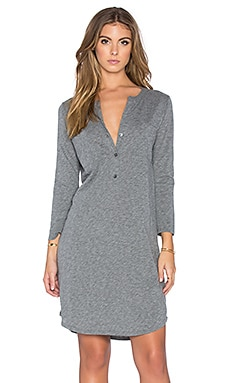 Velvet by Graham & Spencer Vavaya Cotton Slub Button Up 3/4 Sleeve Shirt Dress in Medium Heather Grey