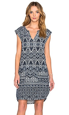 Velvet by Graham & Spencer Carusa Printed French Terry Short Sleeve Dress in Navy & White