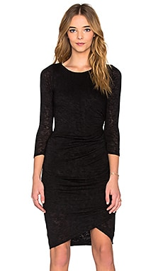 Frayda Textured Knit 3/4 Sleeve Dress in Black