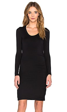 Velvet by Graham & Spencer Freeda Modal Knit Long Sleeve Scoop Neck Dress in Black
