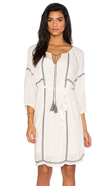 Cristal Embroidered Crepe Shift Dress in Off White