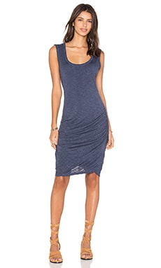 Janos Marled Rayon Midi Dress in Naval