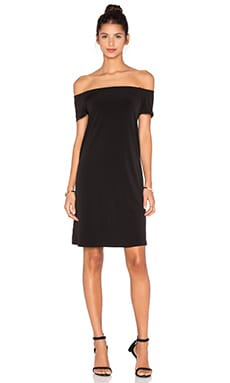 Sorana Stretch Jersey Off The Shoulder Dress in Black