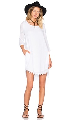 Velvet by Graham & Spencer Blue Bell Cotton Gauze Shift Dress in White