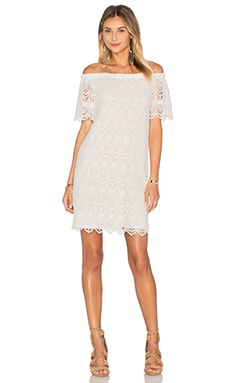 Gustina Cotton Lace Shift Dress in White