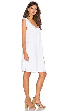 Airlina Rayon Eyelet Shift Dress in White