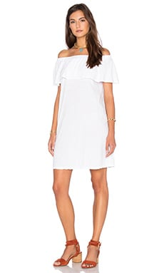 Ithaca Cotton Slub Off The Shoulder Dress in White