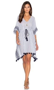 Janessa Embroidered Caftan in Blue