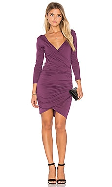 Beatriz Long Sleeve Body Con Dress en Figue