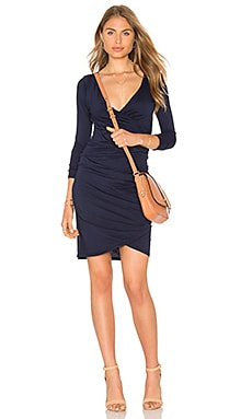 Beatriz Ruched Long Sleeve V Neck Mini Dress in Delft