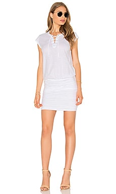 Karmen Lace Up Mini Dress in White