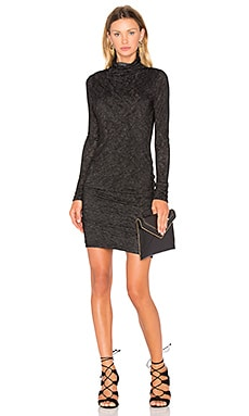Dacey Long Sleeve Turtleneck Mini Dress en Noir