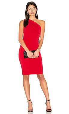 Elly One Shoulder Midi Dress in Rouge