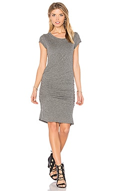 Ciroc Ruched Midi Dress en Gris fusain
