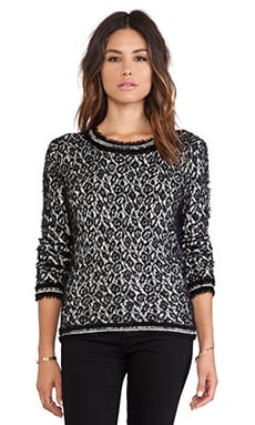 Velvet by Graham & Spencer Jennison Feather Jacquard Sweater in Black & Milk