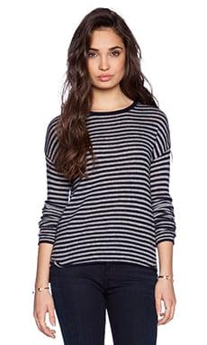 Velvet by Graham & Spencer Sheer Cashmere Striped Tirion Sweater in Ink & Heather
