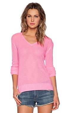 Velvet by Graham & Spencer Cashmere Mesh Elese Sweater in Neon Pink