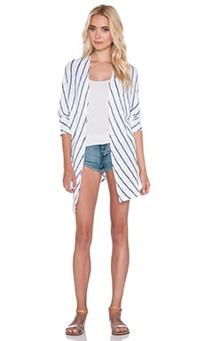 Velvet by Graham & Spencer Calera Cotton Crochet Stripe Cardigan in White
