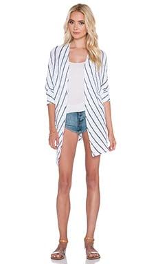Velvet by Graham & Spencer Calera Cotton Crochet Stripe Cardigan in White