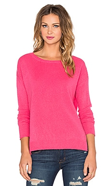 Velvet by Graham & Spencer Delmy Cashmere Classic Sweater in Flamingo