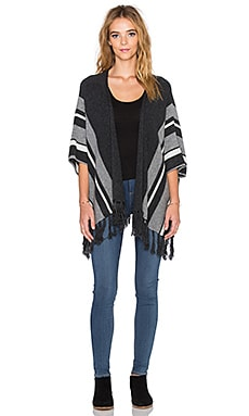 Velvet by Graham & Spencer Feline Cashmere Classics Fringe Cardigan in Charcoal