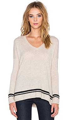 Velvet by Graham & Spencer Stormy Cashmere Classics V-Neck Sweater in Oatmeal