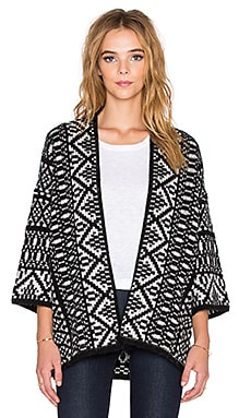 Velvet by Graham & Spencer Yolo Fair Isle Jacquard Cardigan in Black Milk